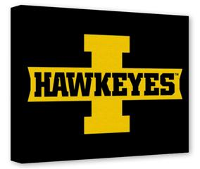 Gallery Wrapped 11x14x1.5  Canvas Art - Iowa Hawkeyes 02 Gold on Black