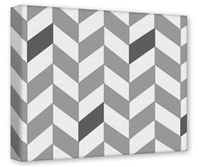 Gallery Wrapped 11x14x1.5  Canvas Art - Chevrons Gray And Charcoal