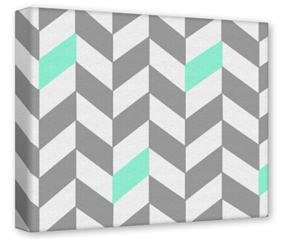Gallery Wrapped 11x14x1.5  Canvas Art - Chevrons Gray And Seafoam