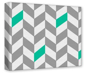 Gallery Wrapped 11x14x1.5  Canvas Art - Chevrons Gray And Turquoise