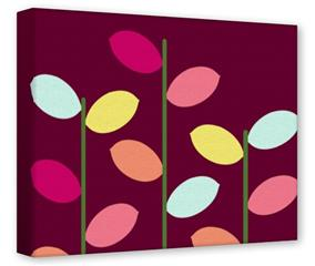 Gallery Wrapped 11x14x1.5  Canvas Art - Plain Leaves On Burgundy