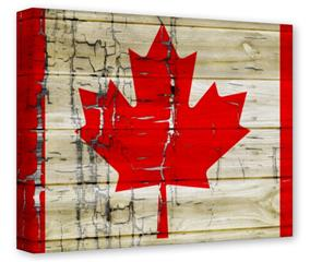 Gallery Wrapped 11x14x1.5  Canvas Art - Painted Faded and Cracked Canadian Canada Flag