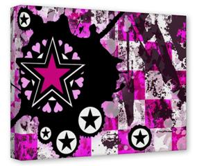 Gallery Wrapped 11x14x1.5 Canvas Art - Pink Star Splatter