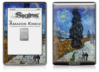 Vincent Van Gogh Van Gogh - Country Road In Provence By Night - Decal Style Skin (fits 4th Gen Kindle with 6inch display and no keyboard)