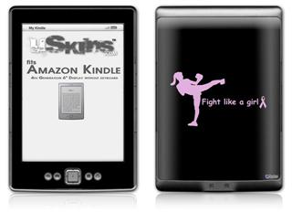 Fight Like A Girl Breast Cancer Kick Boxer - Decal Style Skin (fits 4th Gen Kindle with 6inch display and no keyboard)