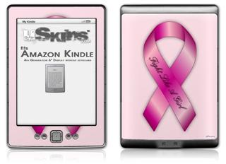 Fight Like a Girl Breast Cancer Pink Ribbon on Pink - Decal Style Skin (fits 4th Gen Kindle with 6inch display and no keyboard)