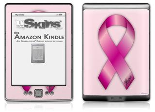 Hope Breast Cancer Pink Ribbon on Pink - Decal Style Skin (fits 4th Gen Kindle with 6inch display and no keyboard)