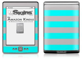 Psycho Stripes Neon Teal and Gray - Decal Style Skin (fits 4th Gen Kindle with 6inch display and no keyboard)