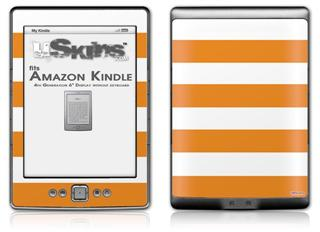 Psycho Stripes Orange and White - Decal Style Skin (fits 4th Gen Kindle with 6inch display and no keyboard)