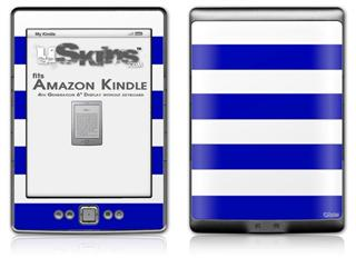 Psycho Stripes Blue and White - Decal Style Skin (fits 4th Gen Kindle with 6inch display and no keyboard)