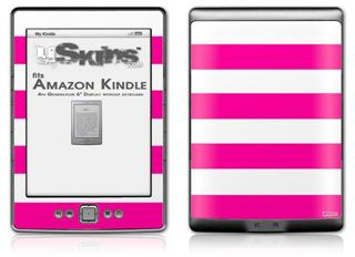 Psycho Stripes Hot Pink and White - Decal Style Skin (fits 4th Gen Kindle with 6inch display and no keyboard)