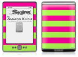Psycho Stripes Neon Green and Hot Pink - Decal Style Skin (fits 4th Gen Kindle with 6inch display and no keyboard)