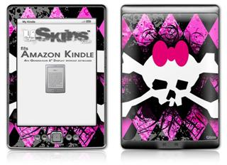 Pink Diamond Skull - Decal Style Skin (fits 4th Gen Kindle with 6inch display and no keyboard)