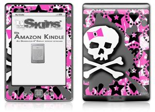 Pink Bow Skull - Decal Style Skin (fits 4th Gen Kindle with 6inch display and no keyboard)