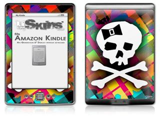 Rainbow Plaid Skull - Decal Style Skin (fits 4th Gen Kindle with 6inch display and no keyboard)