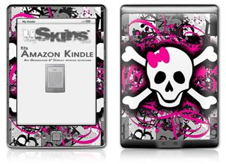 Splatter Girly Skull - Decal Style Skin (fits 4th Gen Kindle with 6inch display and no keyboard)