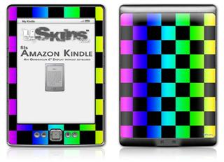 Rainbow Checkerboard - Decal Style Skin (fits 4th Gen Kindle with 6inch display and no keyboard)