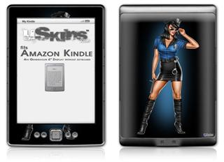 Police Dept Pin Up Girl - Decal Style Skin (fits 4th Gen Kindle with 6inch display and no keyboard)