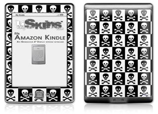 Skull Checkerboard - Decal Style Skin (fits 4th Gen Kindle with 6inch display and no keyboard)