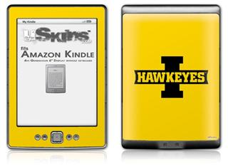 Iowa Hawkeyes 02 Black on Gold - Decal Style Skin (fits 4th Gen Kindle with 6inch display and no keyboard)