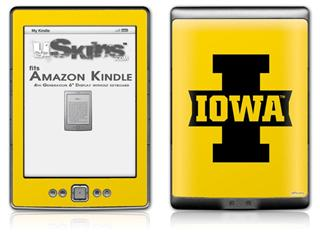 Iowa Hawkeyes 04 Black on Gold - Decal Style Skin (fits 4th Gen Kindle with 6inch display and no keyboard)