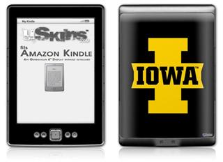 Iowa Hawkeyes 04 Gold on Black - Decal Style Skin (fits 4th Gen Kindle with 6inch display and no keyboard)