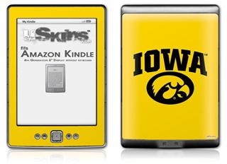 Iowa Hawkeyes Tigerhawk Oval 01 Black on Gold - Decal Style Skin (fits 4th Gen Kindle with 6inch display and no keyboard)