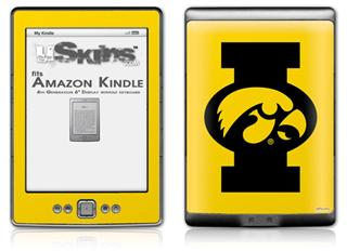 Iowa Hawkeyes Tigerhawk Oval 02 Black on Gold - Decal Style Skin (fits 4th Gen Kindle with 6inch display and no keyboard)
