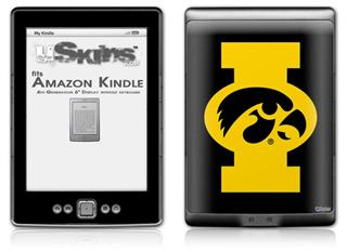Iowa Hawkeyes Tigerhawk Oval 02 Gold on Black - Decal Style Skin (fits 4th Gen Kindle with 6inch display and no keyboard)