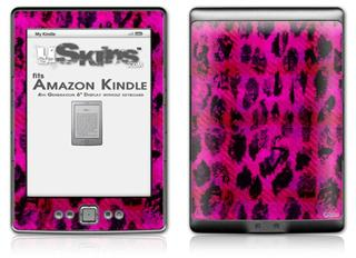 Pink Distressed Leopard - Decal Style Skin (fits 4th Gen Kindle with 6inch display and no keyboard)
