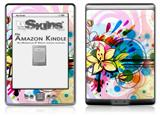 Floral Splash - Decal Style Skin (fits 4th Gen Kindle with 6inch display and no keyboard)