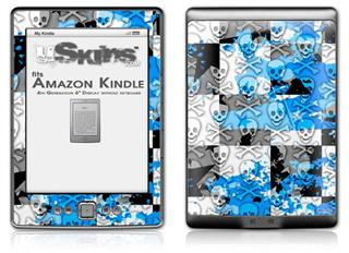 Checker Skull Splatter Blue - Decal Style Skin (fits 4th Gen Kindle with 6inch display and no keyboard)