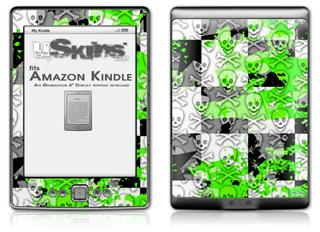 Checker Skull Splatter Green - Decal Style Skin (fits 4th Gen Kindle with 6inch display and no keyboard)