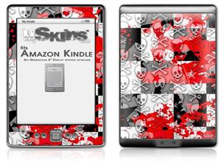 Checker Skull Splatter Red - Decal Style Skin (fits 4th Gen Kindle with 6inch display and no keyboard)