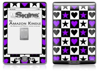Purple Hearts And Stars - Decal Style Skin (fits 4th Gen Kindle with 6inch display and no keyboard)