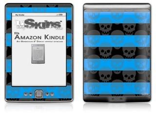 Skull Stripes Blue - Decal Style Skin (fits 4th Gen Kindle with 6inch display and no keyboard)