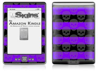 Skull Stripes Purple - Decal Style Skin (fits 4th Gen Kindle with 6inch display and no keyboard)