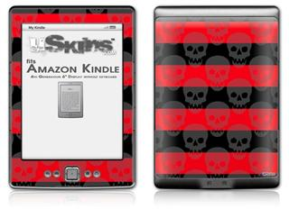 Skull Stripes Red - Decal Style Skin (fits 4th Gen Kindle with 6inch display and no keyboard)