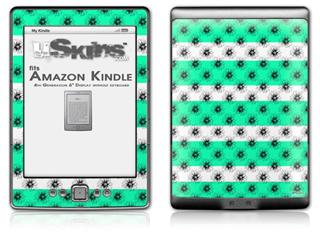 Kearas Daisies Stripe Sea Foam - Decal Style Skin (fits 4th Gen Kindle with 6inch display and no keyboard)