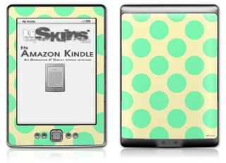 Kearas Polka Dots Green On Cream - Decal Style Skin (fits 4th Gen Kindle with 6inch display and no keyboard)
