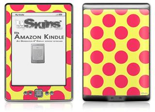 Kearas Polka Dots Pink And Yellow - Decal Style Skin (fits 4th Gen Kindle with 6inch display and no keyboard)