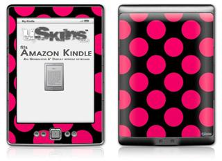 Kearas Polka Dots Pink On Black - Decal Style Skin (fits 4th Gen Kindle with 6inch display and no keyboard)