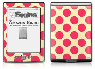 Kearas Polka Dots Pink On Cream - Decal Style Skin (fits 4th Gen Kindle with 6inch display and no keyboard)