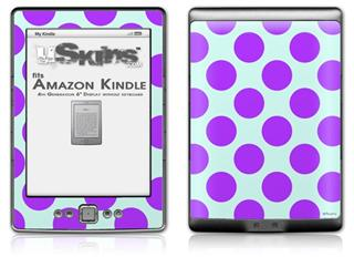 Kearas Polka Dots Purple And Blue - Decal Style Skin (fits 4th Gen Kindle with 6inch display and no keyboard)