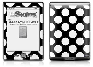Kearas Polka Dots White On Black - Decal Style Skin (fits 4th Gen Kindle with 6inch display and no keyboard)