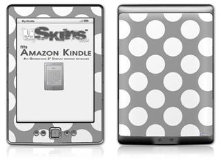 Kearas Polka Dots Whtie On Gray - Decal Style Skin (fits 4th Gen Kindle with 6inch display and no keyboard)