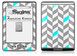 Chevrons Gray And Aqua - Decal Style Skin (fits 4th Gen Kindle with 6inch display and no keyboard)