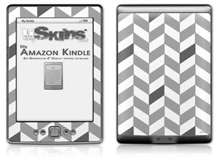 Chevrons Gray And Charcoal - Decal Style Skin (fits 4th Gen Kindle with 6inch display and no keyboard)