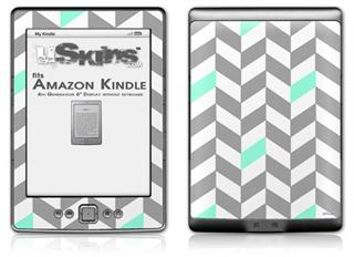 Chevrons Gray And Seafoam - Decal Style Skin (fits 4th Gen Kindle with 6inch display and no keyboard)