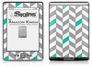 Chevrons Gray And Turquoise - Decal Style Skin (fits 4th Gen Kindle with 6inch display and no keyboard)